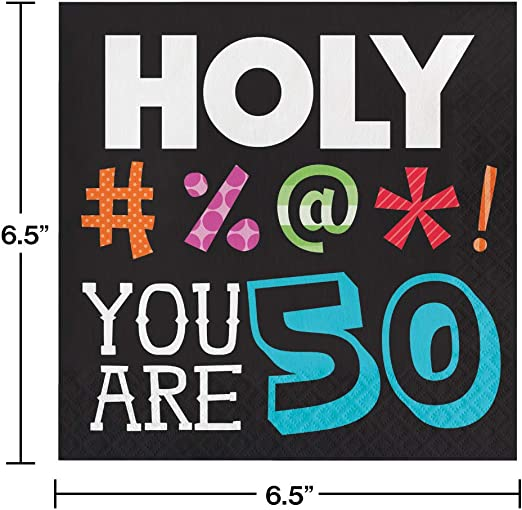 Creative Converting Holy Bleep 50th Birthday Lunch Napkins Party Pack: 48 Count
