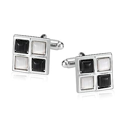 1 par Elegante gemelos de acero inoxidable-negro-color plata-nuevo
