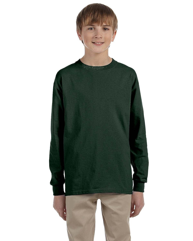 Jerzees Youth 5.6 oz. 50/50 Heavyweight Blend Long-Sleeve T-Shirt, Forest Green, L