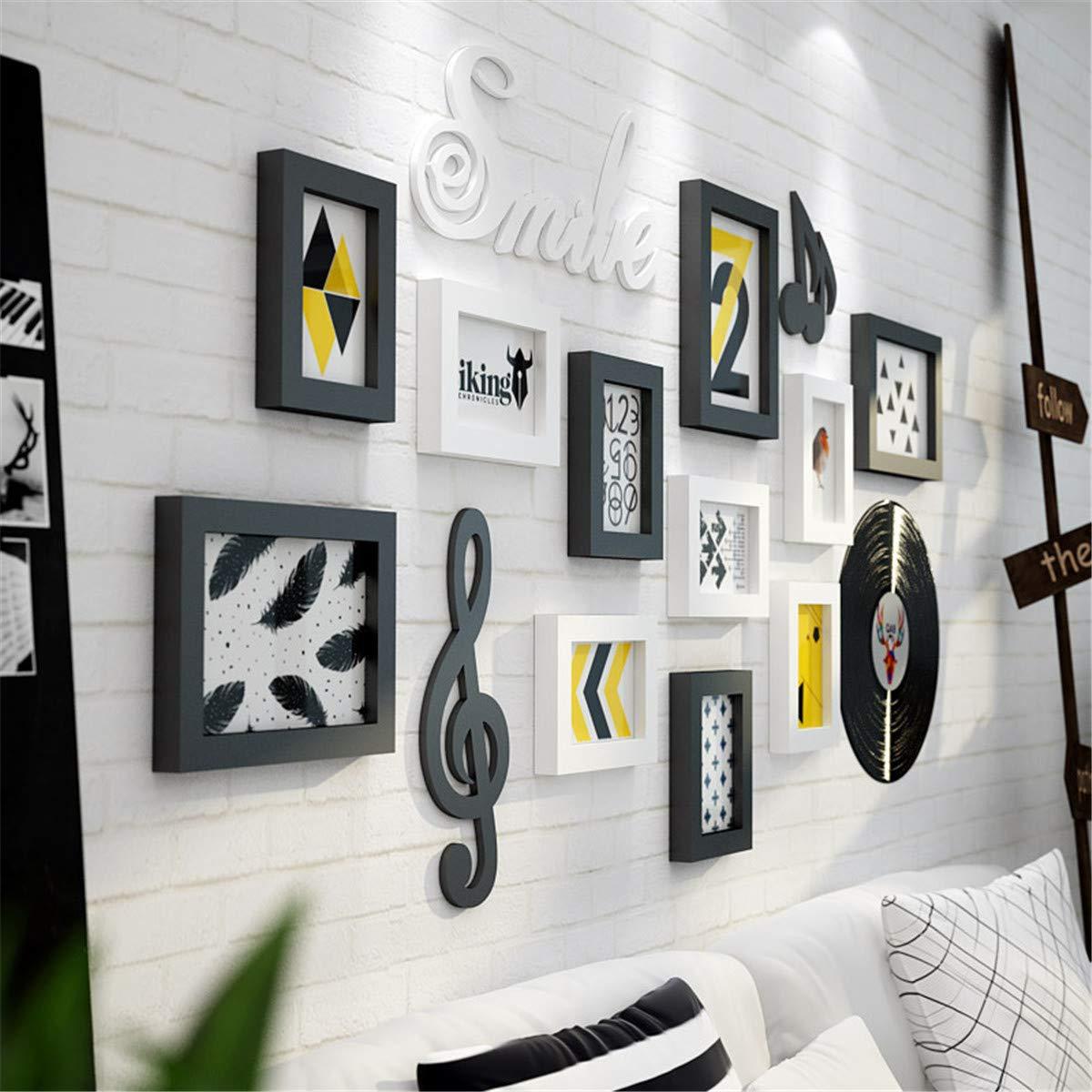 Muro fotográfico Creativo/Muro Creativo para portarretratos/Portaretrato / Pared de Madera, Muro Ocupado 129 * 63cm, Blanco Amarillo Claro (Excepto los ...