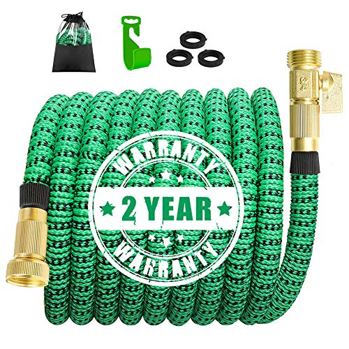 Garden Hose,Lightweight Expandable Garden Water Hose with 3/4 inch Solid Brass Fittings,Expanding Garden Hoses 9 Function Spray Nozzle,Durable Outdoor Gardening Flexible Hose (75 Feet, Green & Black)