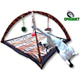 CProduct Activity Center Gym Play Mat with Hanging Mice and Balls Cat Toys, Bengal Tiger