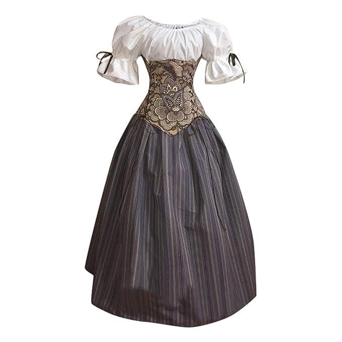 Medievales Disfraz Vintage Recortar Cuello Vestido Largo ...