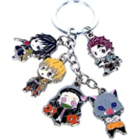 Gankchen 5 Roles in One Keychains Set Demon Slayer: Kimetsu no Yaiba Cosplay Keychain Zinc Alloy Keychains Cute Keyring
