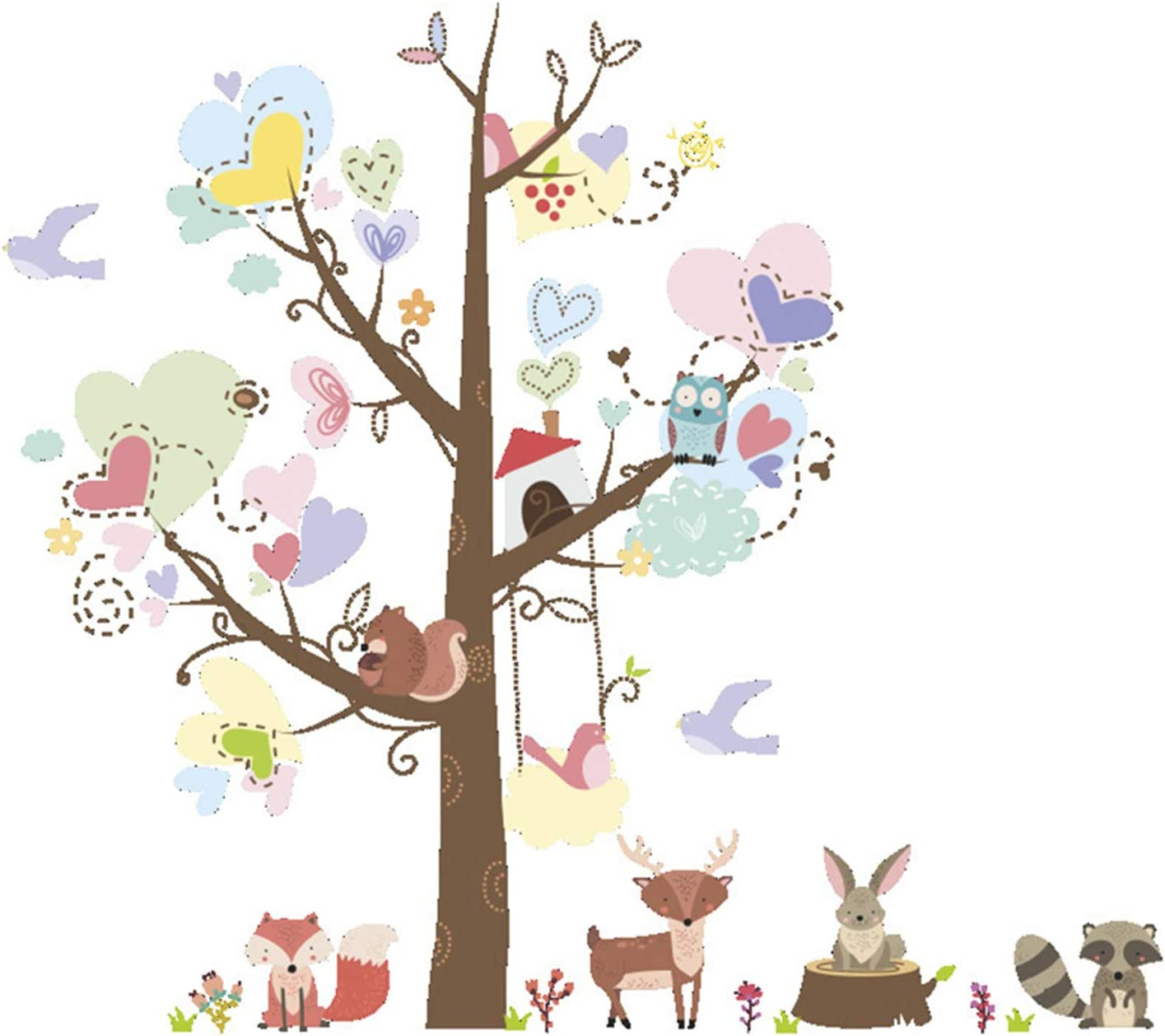 Fymural Nursery-Decor Tree Wall Stickers - Animals Fox Deer Raccoon Rabbit Wall Decals for Toddler Kids Girls Room Baby Bedroom Decorations DIY Removable Mural
