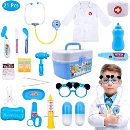 Kids Boys Girls Doctor Role Play Costume Dress up Set with Doctor Medical Kit
