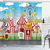 Ambesonne Circus Shower Curtain, Carnival with Many Rides and Shops Illustration Landscape and Cloudy Sky View Print, Cloth Fabric Bathroom Decor Set with Hooks, 70' Long, Blue Red