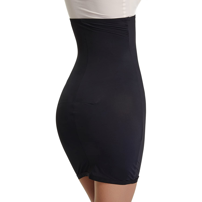 Joyshaper Half Slips Shapewear for Women High Waisted Tummy Control Skirt Slimming Shaping Waist Cincher Trimmer Trainer Girdle Seamless Body Shaper(Black,L)