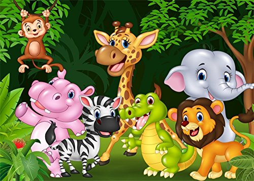 Leowefowa 7X5FT Dinosaur Backdrop Zoo Animals World Backdrops for Photography Park Cartoon Jungle Forest Trees Green Grassland Zebra Lion Giraffe Vinyl Photo Background Boys Girls Studio Props