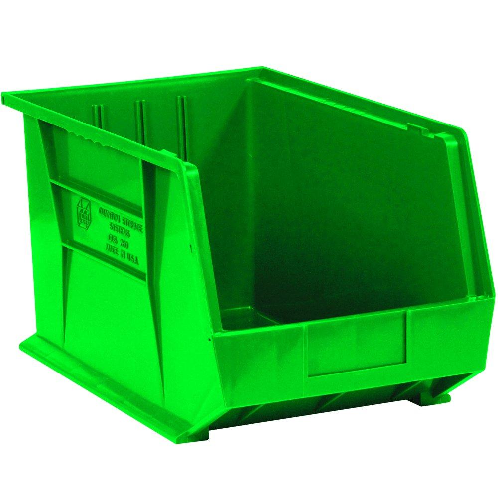 Aviditi BINP1811G Plastic Stack and Hang Bin Boxes, 18'' x 11'' x 10'', Green (Pack of 4)
