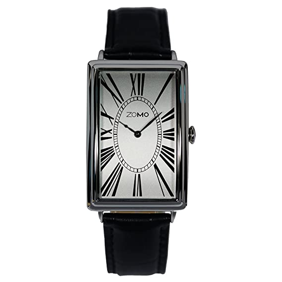Zomo Adore - para hombre - Reloj - esfera de plata clásico reloj de pulsera de cuarzo swiss para Men- rectangular analógico vestido reloj de acero ...
