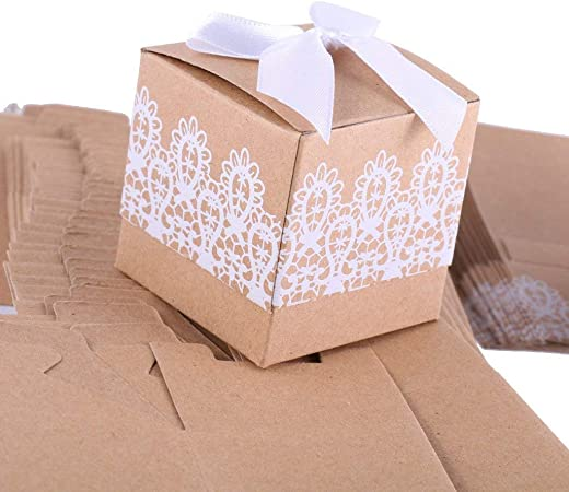 50pcs Pearl Bow Wedding Birthday Favor Party Boxes Gift Candy Baby shower Box