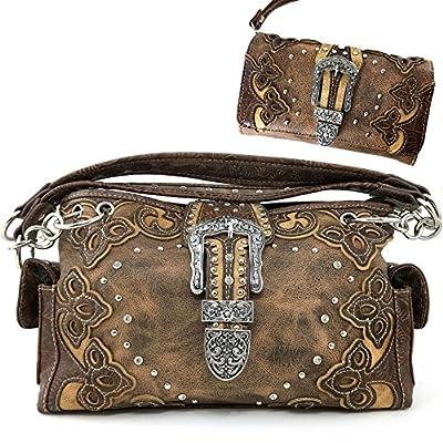 Justin West Western Brown Purse Floral Buckle Concealed Carry Handbag