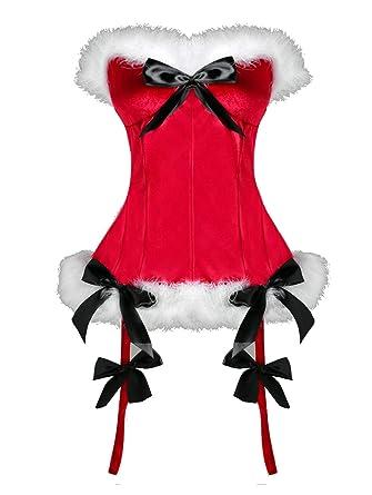 acc206f59 Amazon.com  KENANCY Womens Plus Size Christmas Santa Costume Bustier Corset  Top Lingerie  Clothing