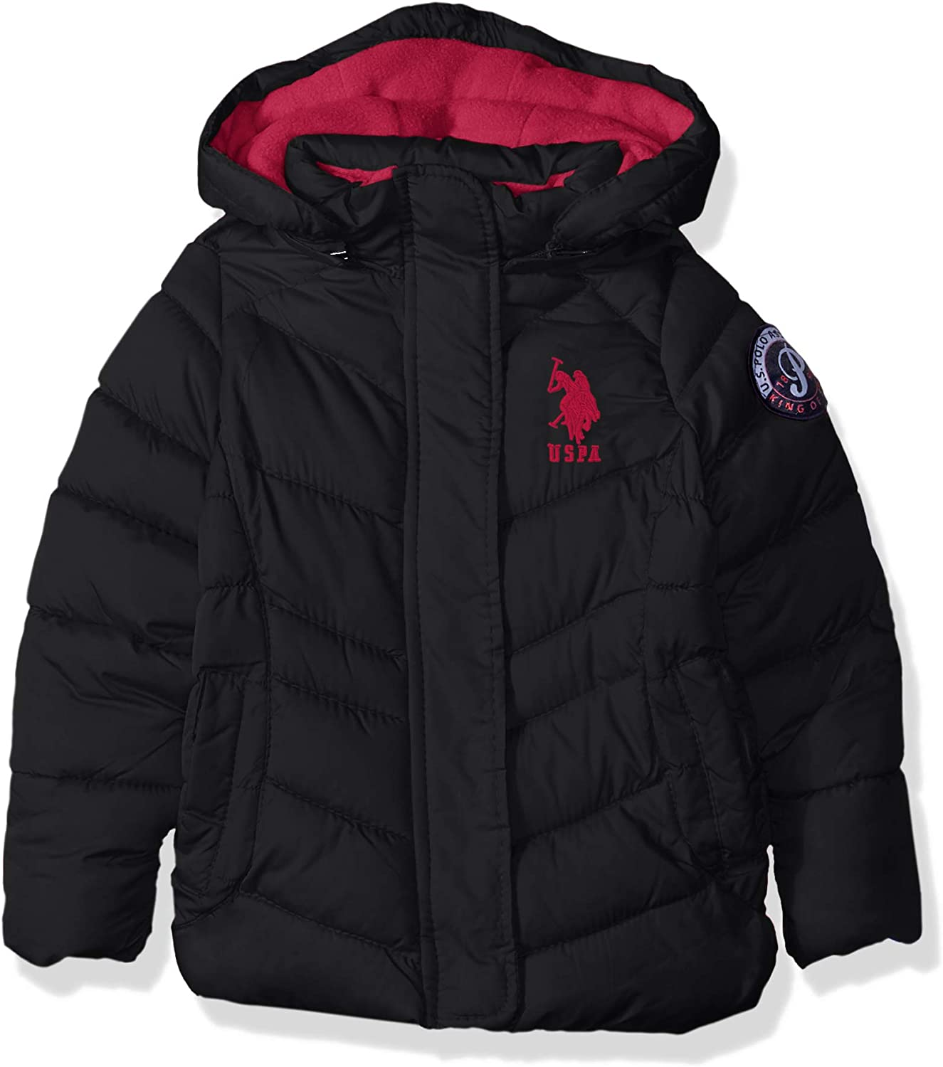 Girls Hooded Bubble Jacket with Piping Detail U.S Polo Assn