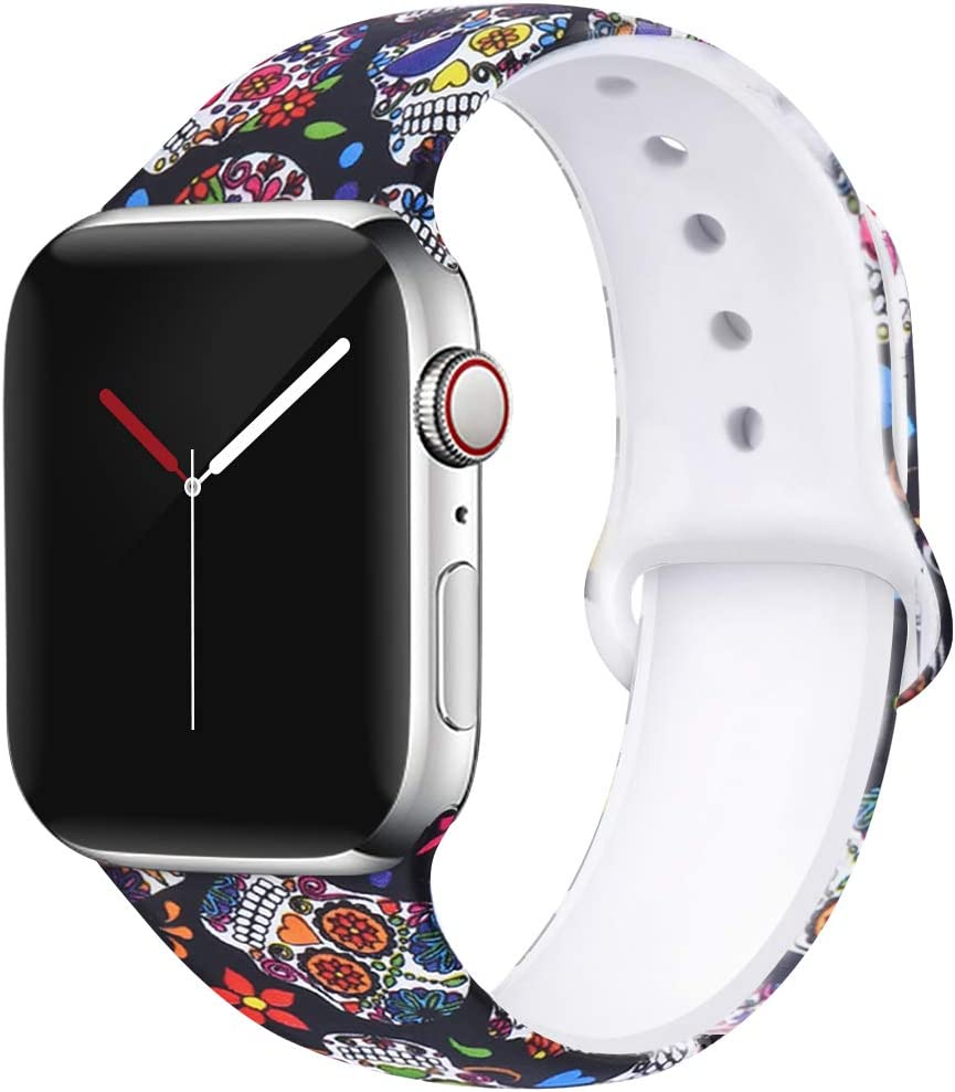 OriBear Compatible with Apple Watch Band 40mm 38mm Elegant Floral Bands for Women Soft Silicone Solid Pattern Printed Replacement Strap Band for IwatchSeries 4/3/2/1 M/L Elegant Flower