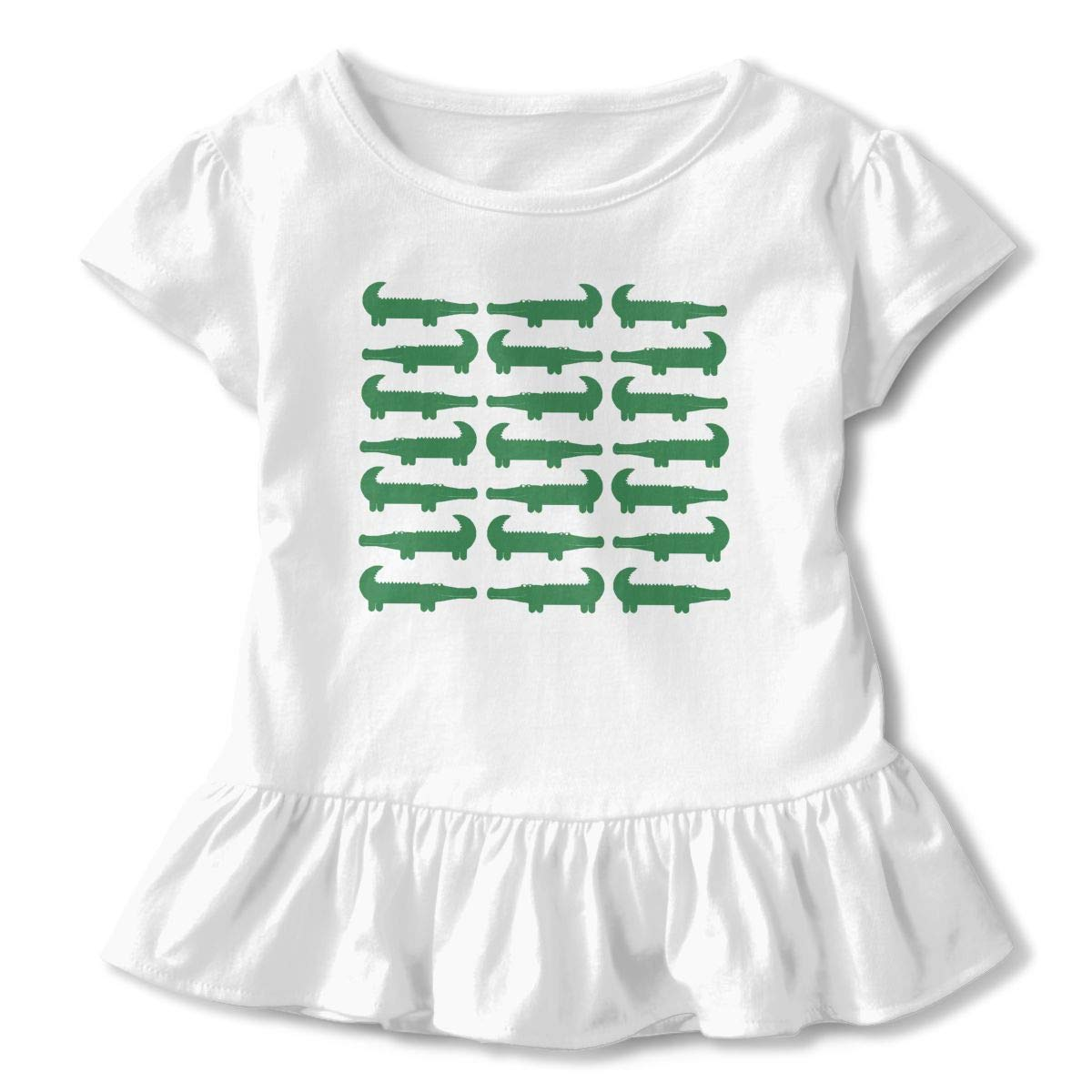 Cartoon Green Alligator Toddler Girls Round Neck Ruffle Short Sleeves Top Tunic for Home School As Gift for Children