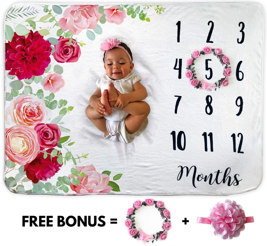 Baby Monthly Milestone Blanket | Includes Floral Wreath & Headband | 1 to 12 Months | 100% Organic Fleece Extra Soft | Best Baby Shower Gift | Photography Backdrop Photo Prop for Newborn | Baby Girl by Novo Baby