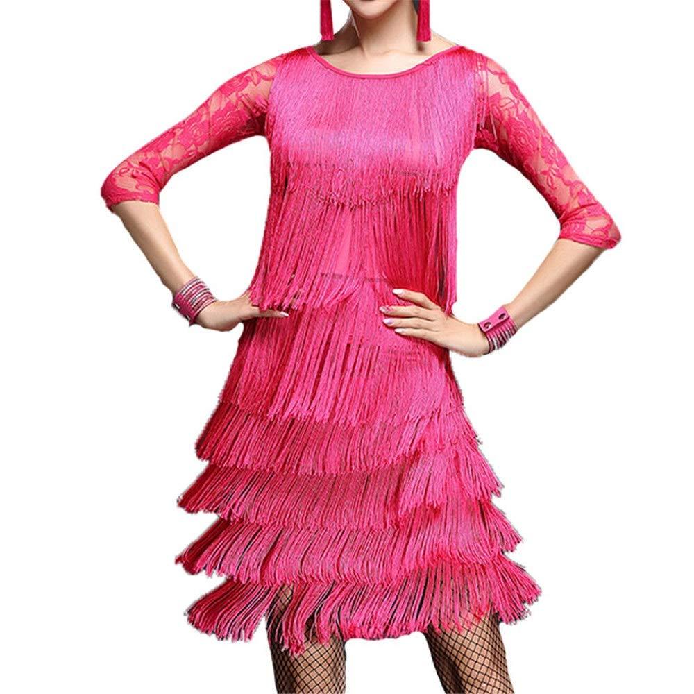 Rose Rouge Robe de soirée de danse pour femmes Femmes glands robe de danse latine tenue demi-hommeche florale dentelle splice débardeur avec jupe de danse danse salle de bal concours de costumes de perforhommece élé Medium