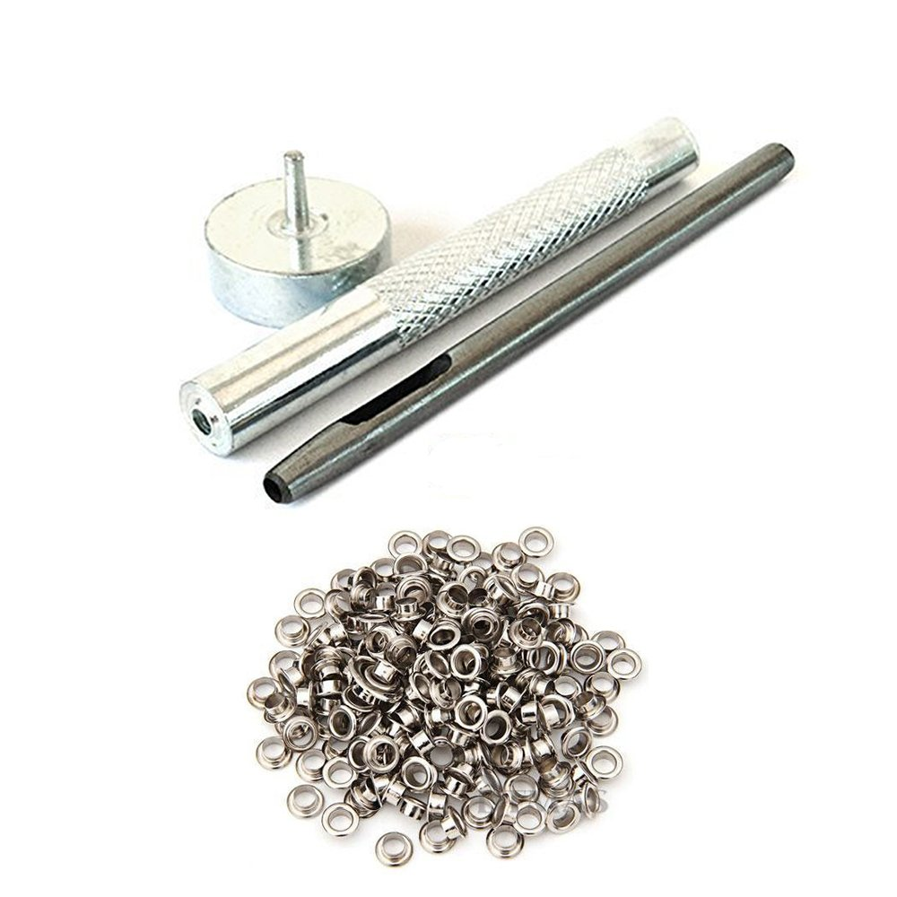 Scapbooking Hollow Hole Punch for Clothing Leathercraft Projects Wedding Decor 100 x 4mm Silver Eyelets Grommet with Set of 3 Die Set