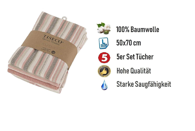 Tiseco Lot de 5 torchons de Cuisine Style scandinave 4 Couleurs diff/érentes 50 x 70 cm Rose