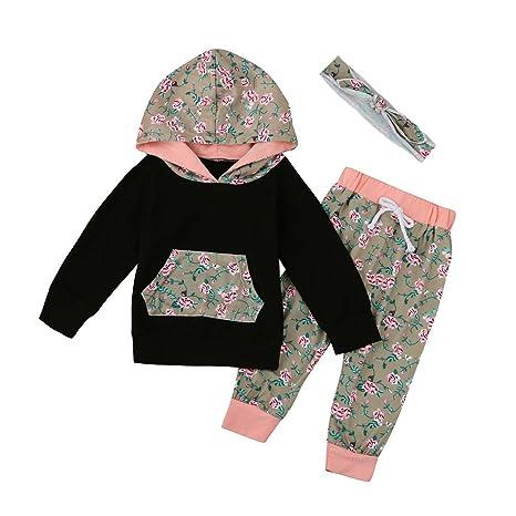 feiXIANG Niñas recién Nacidas Ropa Infantil Bebé niña niño Ropa Set Floral con Capucha Top +