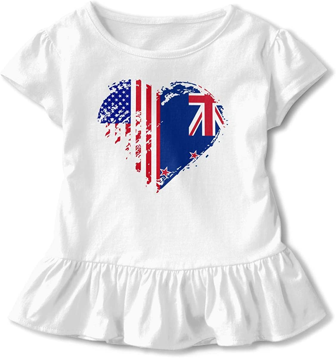 Grungy New Zealand American Flag Heart Toddler Girls Short Sleeve Graphic Top