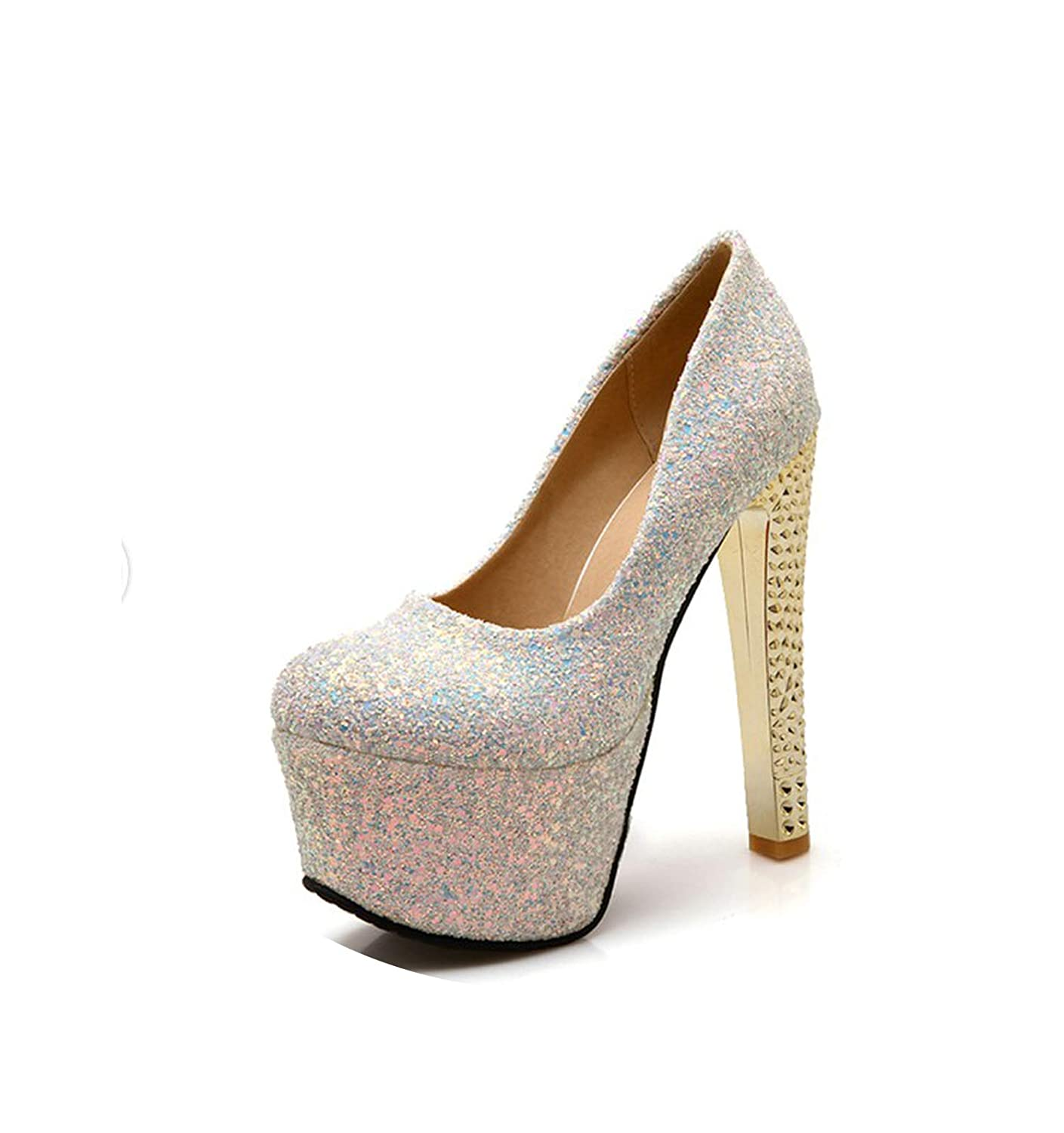 Silver LAIGEDANZI Sexy Round Toe Women Pumps Super High Heels Ladies Wedding Party shoes d-14