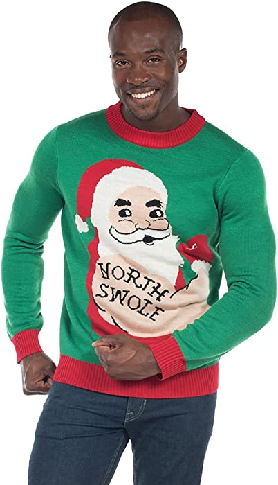 5aca2380309 Men s North Swole Santa Sweater - Funny Workout Ugly Christmas Sweater   Small Green