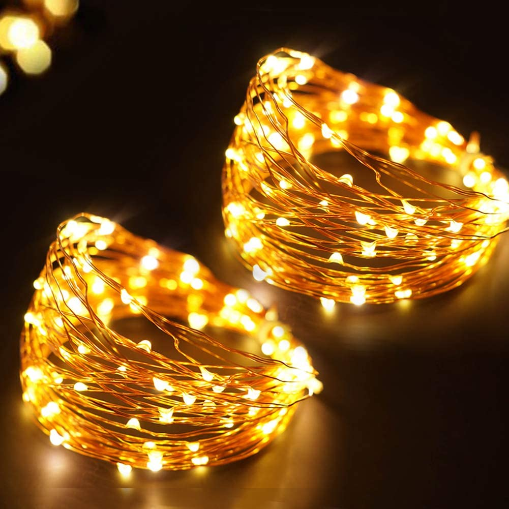 Bright Zeal 66 Ft 200 LED Waterproof Starry Copper String Lights Battery Powered With Timer - Warm White String Lights Indoor Bedroom Fairy Lights Battery Operated -Starry String Lights New Home Decor