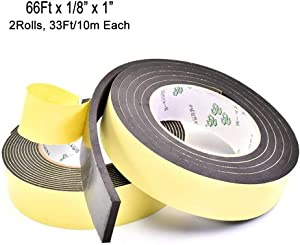 High Density Foam Insulation Tape Adhesive, Seal, Doors, Weatherstrip, Waterproof, Plumbing, HVAC, Windows, Pipes, Cooling, Air Conditioning, Weather Stripping, Craft Tape (66Ft x 1/8'' x 1'')