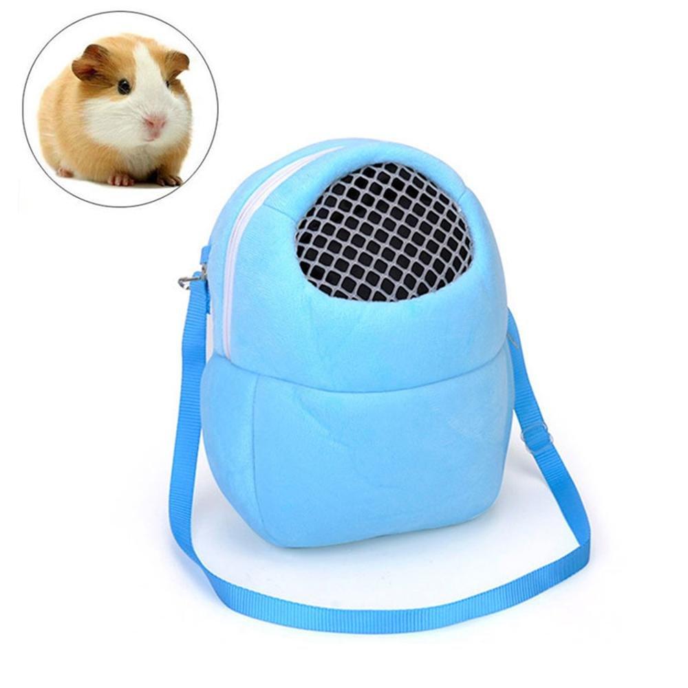 Hamster Travel Bag, Aolvo Creative Outdoor Hedgehog Backpack Rabbit Hamster Squirrel Sleeping Bag Rest Cage, Breathable Portable Pet Outgoing Travel Pet Sleeping Bag with Shoulder Strap (Blue)