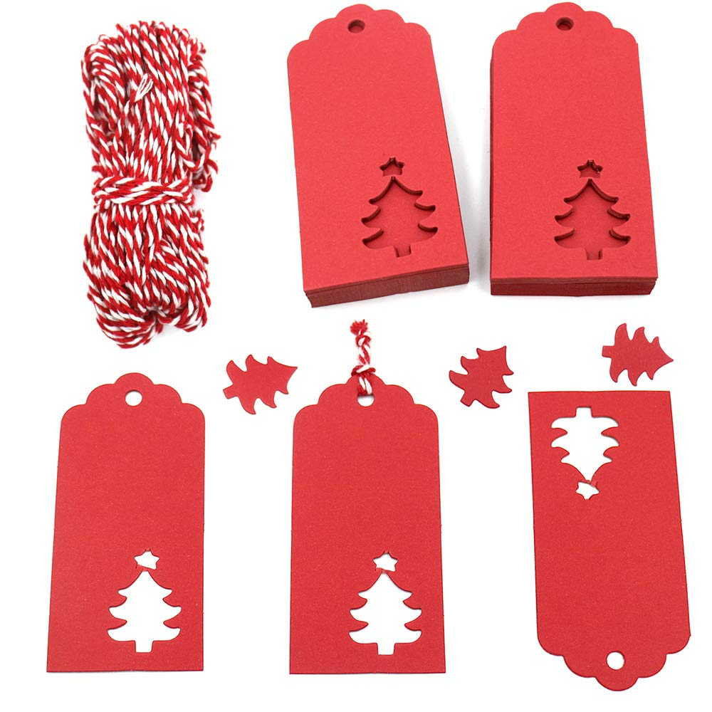 68a65e3d1ef4 Red Tags,100 PCS Christmas Gift Tags,Hollow Christmas Tree Design Paper  Tags with 30M String for Arts and Crafts,Wedding Christmas and Holiday  Party ...