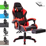 Advwin Gaming Chair Racing Style, Ergonomic Design with Footrest Reclining Executive Computer Office Chair, Relieve Fatigue Red (65 * 65 * 127-135cm)