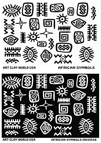 Flexistamps Texture Sheet Set African Symbol Designs (Including African Symbol and African Symbol Inverse)- 2 - Polymer Clay Rubber For Stamps