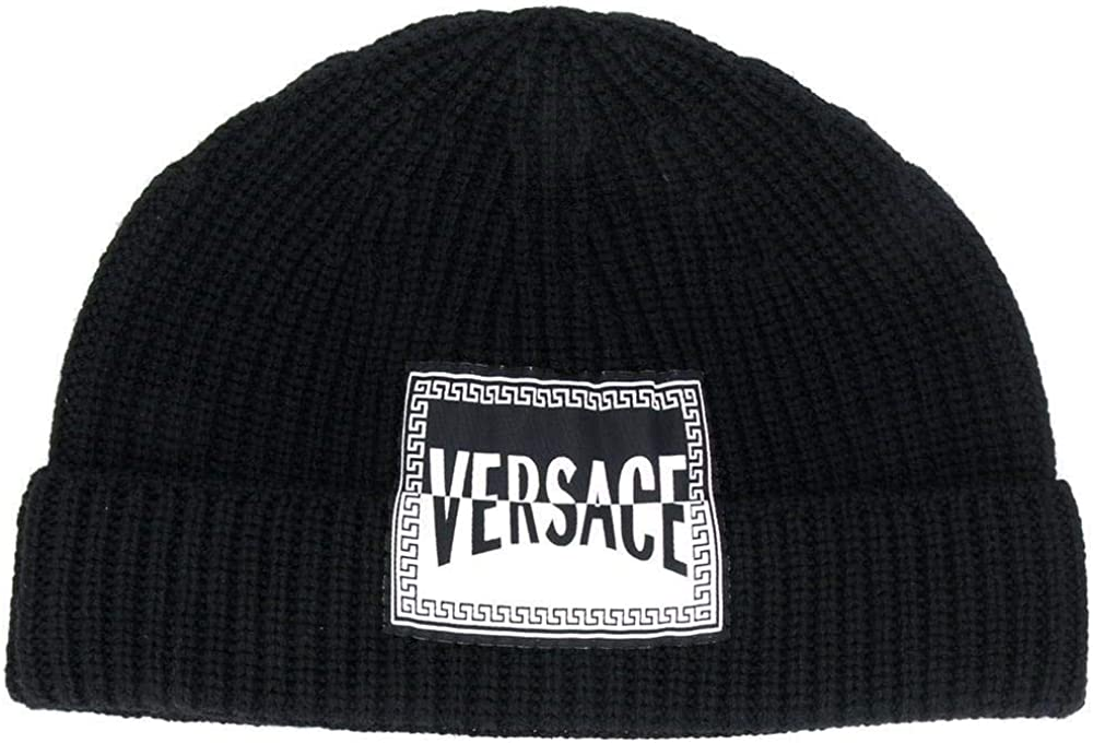 Versace - Gorra con el logotipo de Beanie, para hombre, color negro