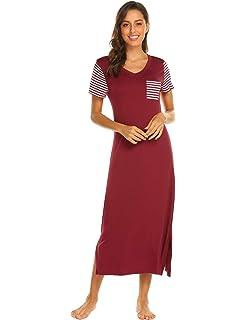 5b46d9960 Hotouch Sleepwear Women s Casual Nightgown Short Sleeve Striped Nightshirt  Long Soft Sleep Dress