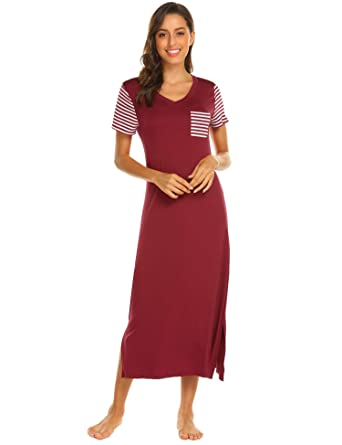 f11e0ba700 Hotouch Nightgown Womens Short Sleeve Sleepwear V Neck Striped Long Sleep  Dress Dark Red S