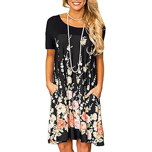 Mikkar Womens Pocket Dress Fashion Long Sleeve Casual Sundress