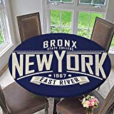 PINAFORE HOME Round Premium Tablecloth College New York Typography t Shirt Graphics Vectors Stain Resistant 50''-55'' Round (Elastic Edge)