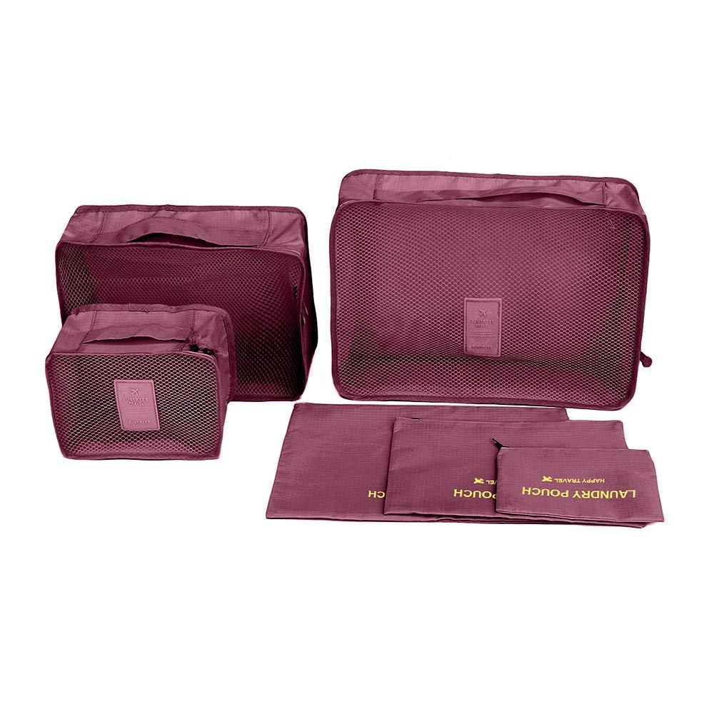 Mbangde 6 Set Packing Cubes, Travel Luggage Organizer - 3 Travel Cubes + 3 Pouches MJ10001_AZU