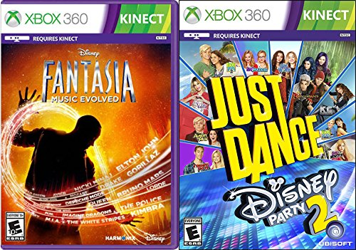 Disney Music & Dance Fantasia Music Evolved & Just Dance Party 2 Game Set Double Pack Bundle (360 Central Xbox Kinect 3 Dance)