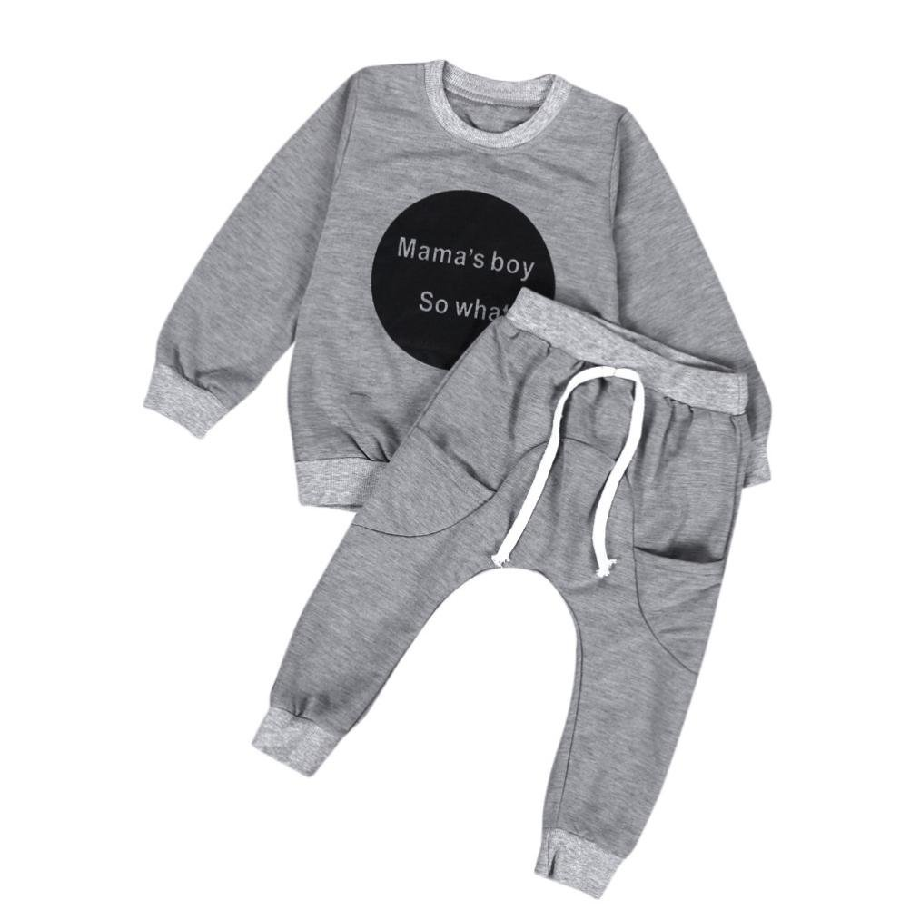 BURFLY Toddler Clothes, Baby Boys Mama's Boy So What Print Tops + Pants