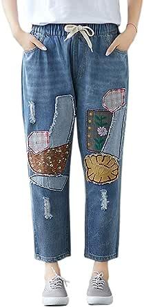 Women's Jeans Applique Pocket Decoration High Waist Jeans