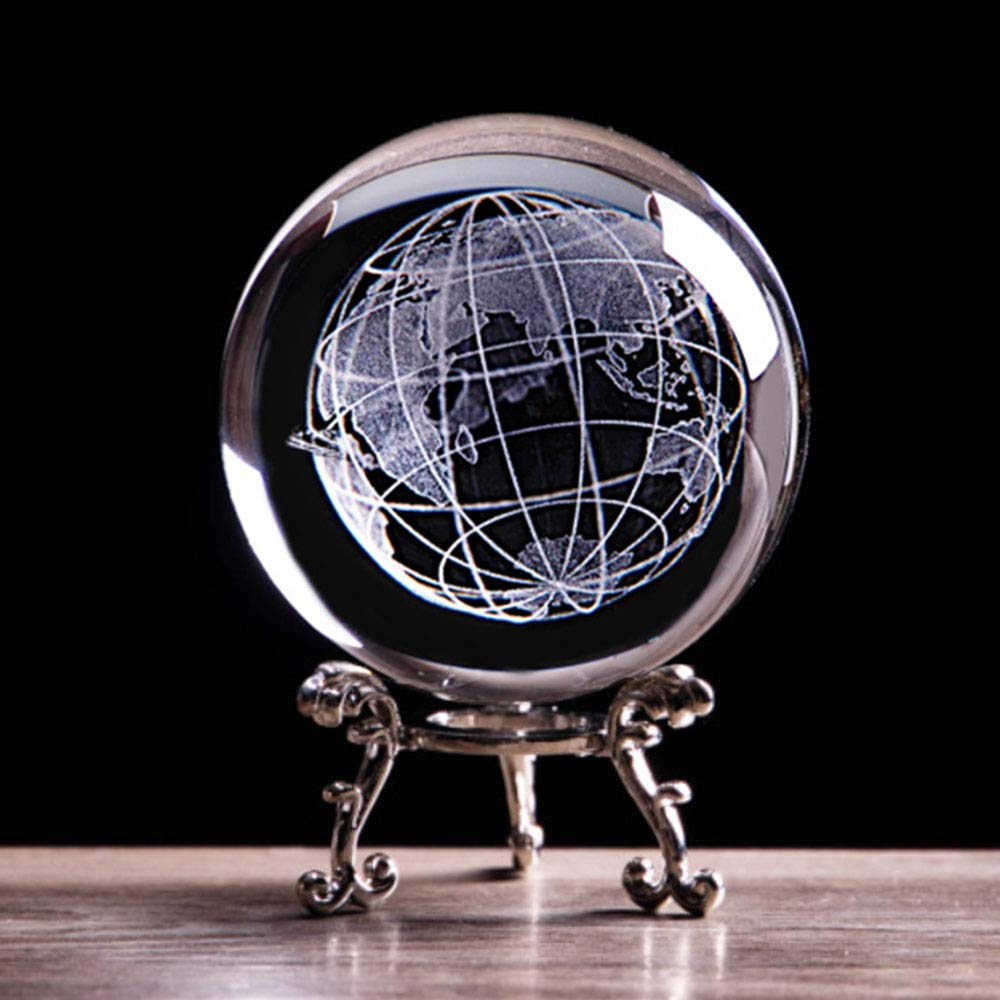 3D Globe Crystal Ball with Stand Earth Model Ball for Kids K9 Crystal Sphere for Home Decoration Birthday (60MM with Silver Base)