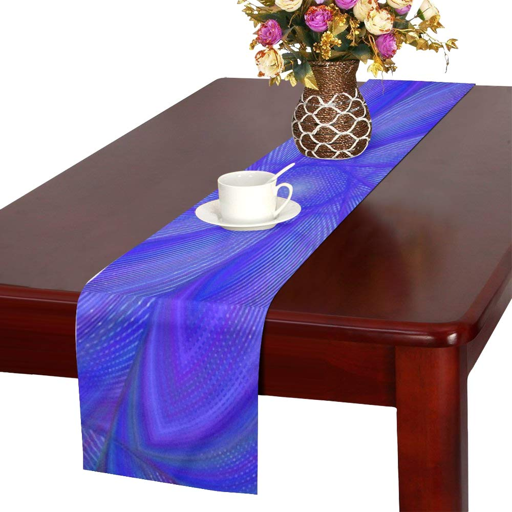 Blue Abstract Fractal Digital Dynamic Modern Table Runner, Kitchen Dining Table Runner 16 X 72 Inch For Dinner Parties, Events, Decor