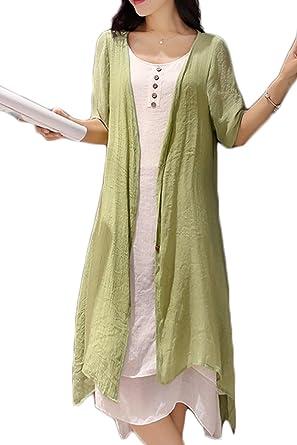 Zojuyozio Women Summer Linen Cotton Midi Dress Swing Two ...