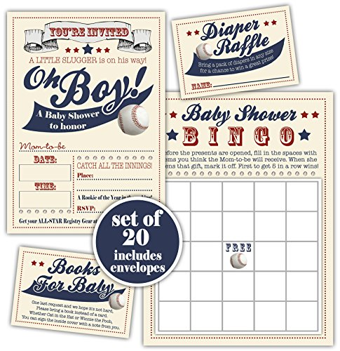 Baby Shower Pack • Baseball Baby Shower Invitation Bingo Game Diaper Raffle Ticket and Books for Baby insert - Set of 20 with envelopes