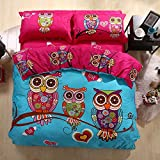 HNNSI 4 Pieces Cartoon Style Owls Bedding Sets Queen Size,100% Cotton AB Version Design Owls Duvet /Quit/Comforter Cover Sets, Soft Cozy Home Collections Bedding Sets (Queen)