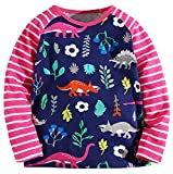Girls' Cotton Crewneck Solid Long Sleeve T-Shirt(Dinosaur & Rose,6-7Yrs)